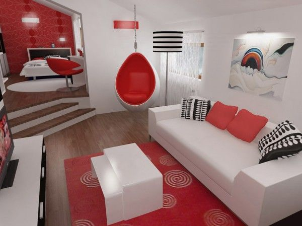 красно белые спальни