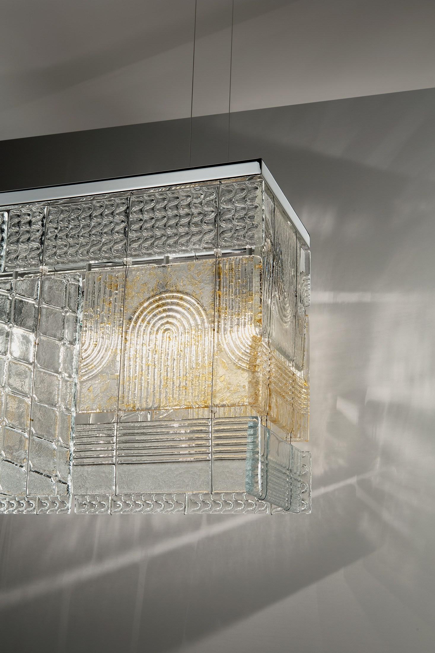 Fabbian Lamins светильник из литого стекла с фактурой