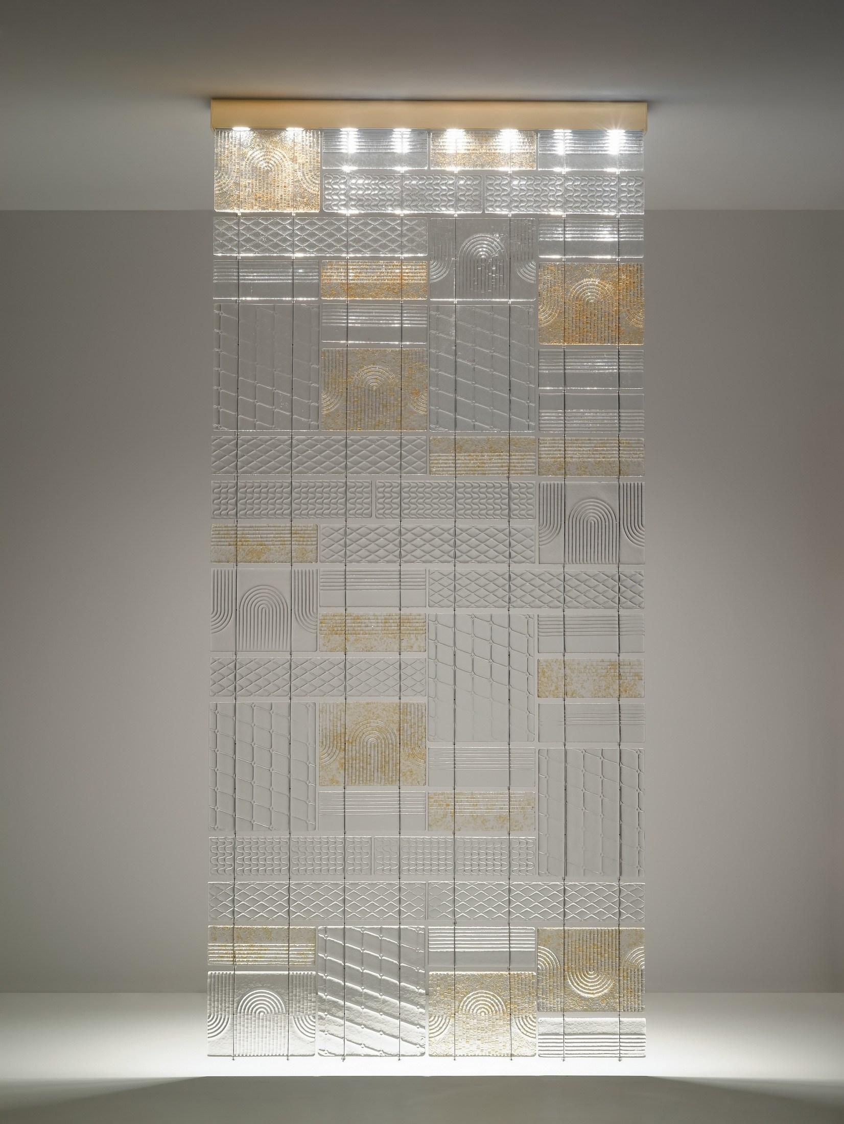 Fabbian Lamins перегородка из литого стекла с фактурой